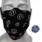 protective mask, black, smile, straps, D5809