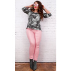 B16680 Waxed Women Pants, Large Sizes, Candy Pink