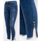 B16804 Women Jeans, Brushes & Beads, Blue