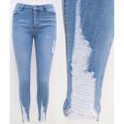 B16817 Women's Jeans, Mega Abrasions, Blue