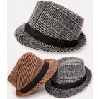 A1260, chapeau à carreaux, sangle décorative