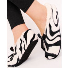 SOF22 Warm Womens Ballerina Slippers, Zebra Patter