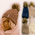 C1974 Women Fleece Cap, Fur Pompon