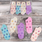 4247 Cotton Women Socks, feets, Pastel Anchors