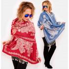 A1256 Châle, écharpe, foulard, fleurs orientales
