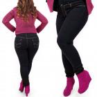 B16639 Jeans pour femmes, grandes tailles, noir se