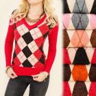 C17206 Elegant Sweater, Knit lanamerinos, diamonds