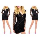 C24207 Sequined Dress, Envelope V-neck