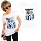 K584 Cotton T-Shirt Top, Girl In Glasses, White