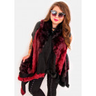 EM12 Fur Women Jacket, Vest, Poncho, Burgundy