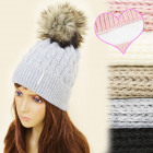 C17445 Warm winter Cap, Hat, Furry Pompon, Cuff