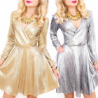 C24154 Unique, Gold Dress, Glossy Glamor