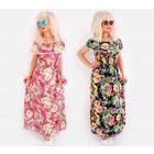 C17524 Long Women Dress, Pattern in Roses