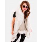 EM13 Fur Women Jacket, Vest, Poncho, Beige Color