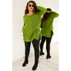PL30 Long woolen sweater with braid, olive green