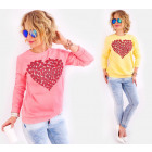 A803 Cotton Ladies Sweatshirt, Glitter Heart