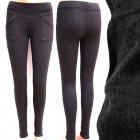 Bamboo Warmed Women Pants, M-2XL Schwarz, 4912