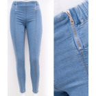 B16823 Women Jeans with Sliders, Treggins, Blue