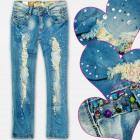 A19189 Jeans Fille Pantalons, Perles et Trous, 8-1