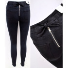 B16799 Women Jeans, Pants, Zip and Bow, Black