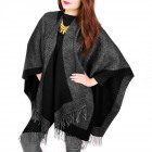 Women Poncho, Double-sided, Fine Zigzag, B10A89