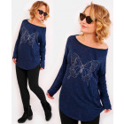 R110 Comfortable Tunic, blouse, Silver Butterfly