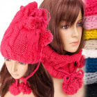 A1211 Lovely Hat, Weave Braid, Pompoms