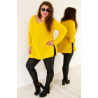 PL26 Long woolen sweater with braid, honey