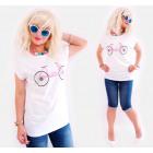 K610 Blouse, Shirt, Plus Size, Pink Bicycle, White