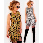 A1009 Pencil Dress, Gold and Silver