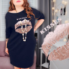 4844 Plus Size Sweatshirt Dress Tunic, Golden Kiss