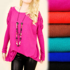 C22140 Loose Tunic, Oversize, Bows, Cashmere