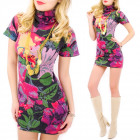4225 Attraktives Kleid, Tunika Blumen, Wolle