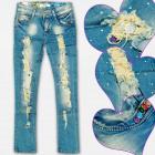 A19190 Jeans, filles, pantalons, perles et trous,