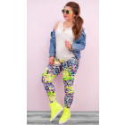 4265 Comfortable Summer Leggings, Pattern of Neon