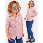 R34 Casual Shirt, Blouse, Colorful Lattice, Pocket