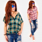 C11531 Summer Tunic, Women Blouse, Checkered
