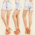 B16507 SHORTS JEANS, HIGH STATE, HOLES AND CUFF