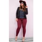 Plus size women's Jeans, Burgundy Color, B1685