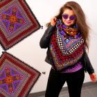B10A79 Plaid, Wide Neckerchief, Aztec Style, Neon