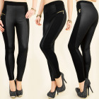 4010 SEXY BLACK LEGGINGS, LATEX GOLD SLIDERS