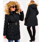 4417 Winter Women Jacket with Fur, Black