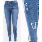 B16806 Women Jeans, Rhinestones And Brushes