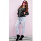 B16721 Women Pants Jeans, Decorative Jets