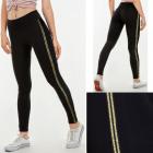 Damen Leggings S-XL, Sport, Goldene Streifen 5900
