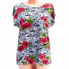 Cotton Women's Shirt, M-3XL, Flowers, 5236