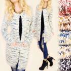 C11373 Patterned Cardigan, Hairy Sweater Warm Coat