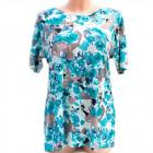 Cotton Women's Shirt, M-3XL, Flowers, 5233