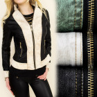 A28148 SPRING JACKET, JEANS + ECO LEATHER, 2 COLOR