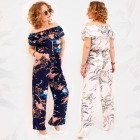 C17665 Women Suit, Overall Floral Print, Summer